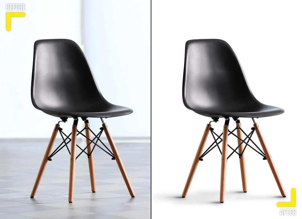 Product retouching, chair clipping path with white background and natural shadow