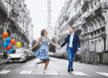 creative pencil sketch effect of a couple with balloons