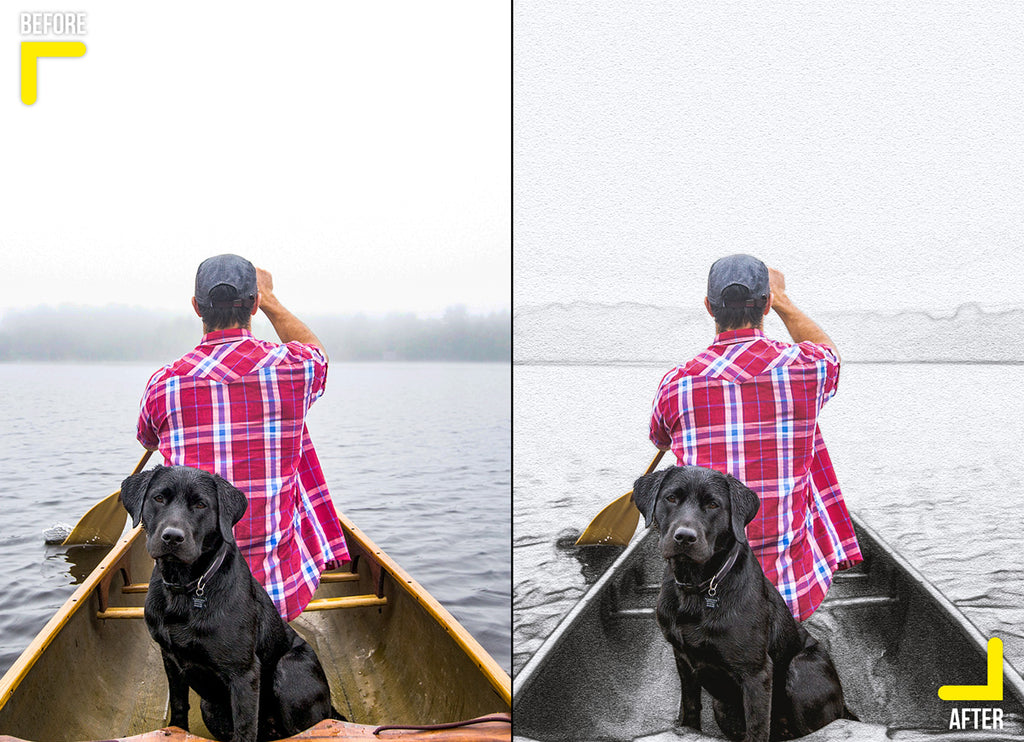creative pencil sketch effect of man with his dog in a boat