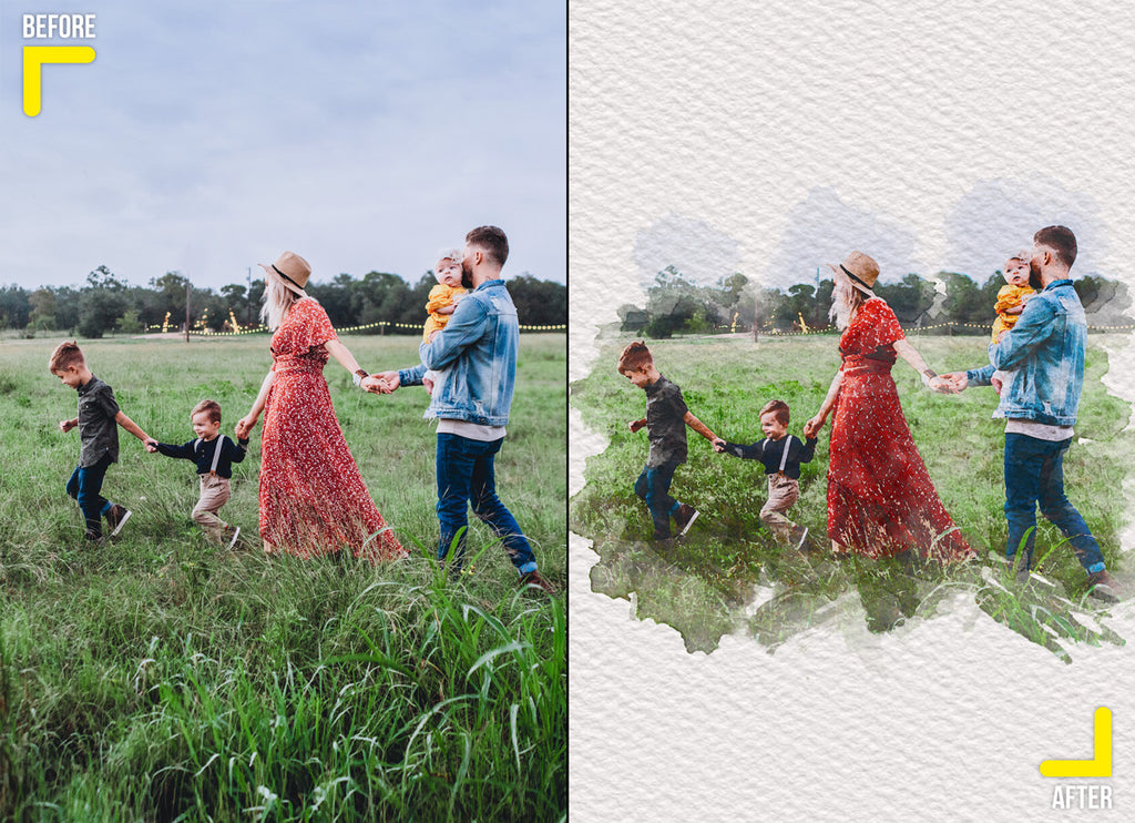 Creative artistic watercolor effect of a family in a field