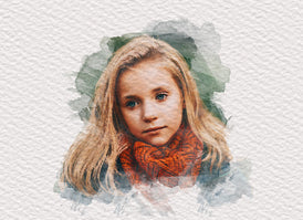 creative artistic watercolor effect of a young girl