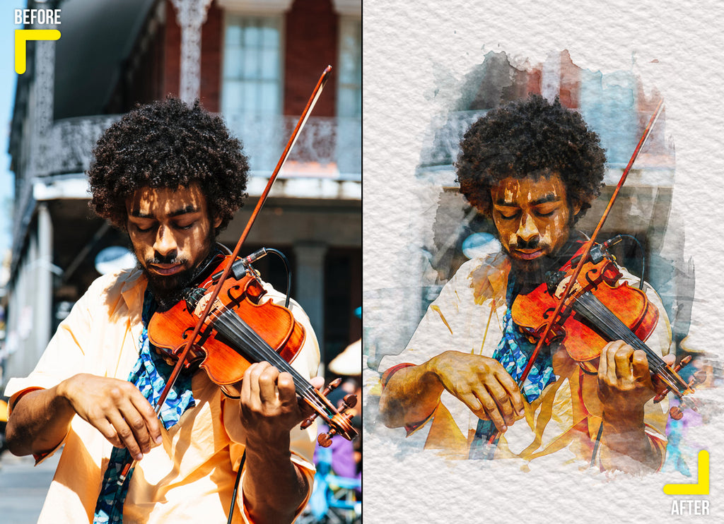Creative artistic watercolor effect of a man playing violin