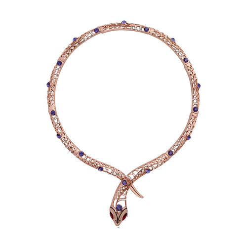 Viennois Rose Gold Color Snake Necklace