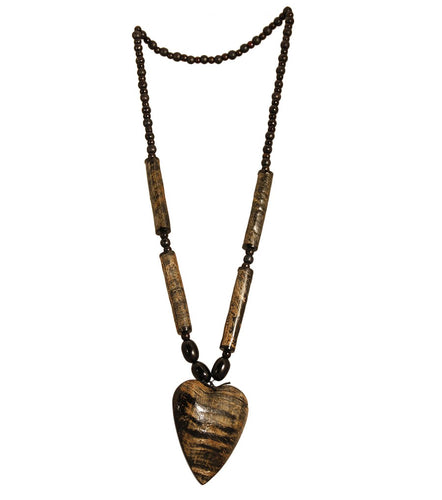 Buffalo Horn Heart Pendant Necklace