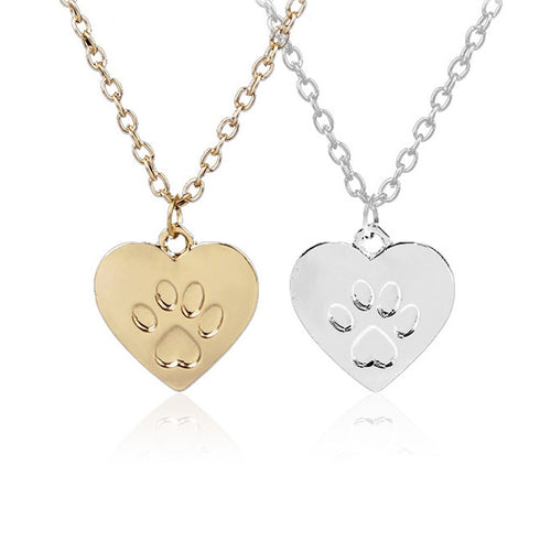 Heart Shaped Dog Footprint Necklace