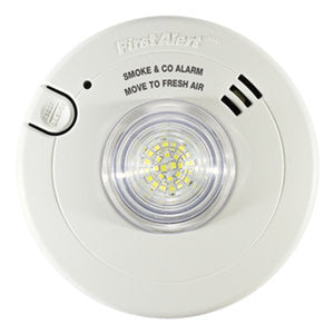 BRK Combination Photoelectric T3 Smoke Alarm  Carbon Monoxide T4 Alarm and LED Strobe with 10-Year Battery Back-up
