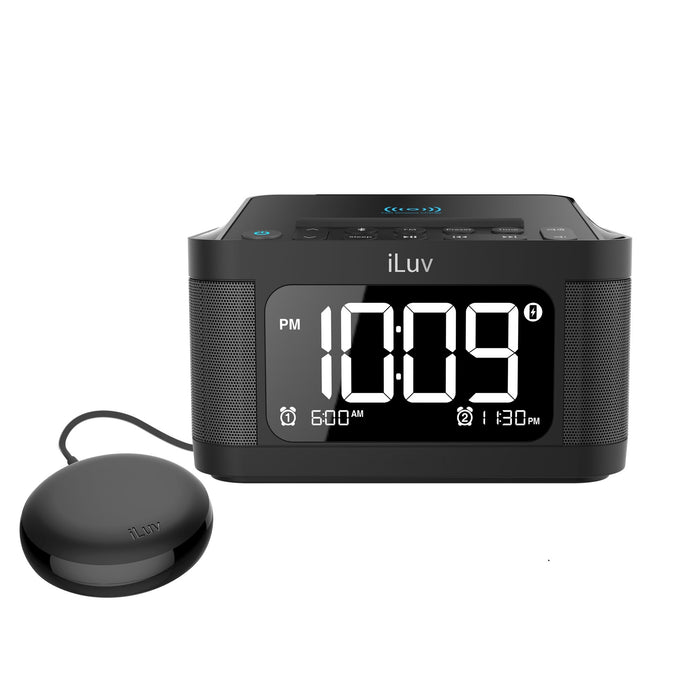 iLuv TimeShaker 6Q Wow –  Bluetooth  LCD  Dual-Alarm Clock with Qi Wireless Charging Pad and Wow Bed Shaker