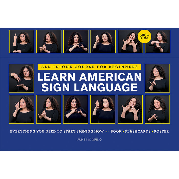Learn American Sign Language Course with Book  Flashcards and Poster