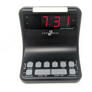 DEAFWORKS Futuristic 2 Dual Alarm Clock with Flashing or Steady Light mode and Dual USB Charging Ports - Black
