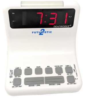 DEAFWORKS Futuristic 2 Dual Alarm Clock with Flashing or Steady Light mode and Dual USB Charging Ports - White