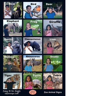 """Zoo Animal Signs""  ASL Lenticular Poster"