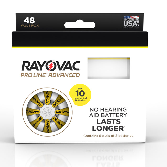 Rayovac Proline Advanced Mercury Free Hearing Aid Batteries 48/Box Size 10