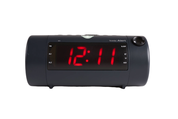 Sonic Blast Projection Dual Alarm Clock with Bluetooth Speaker