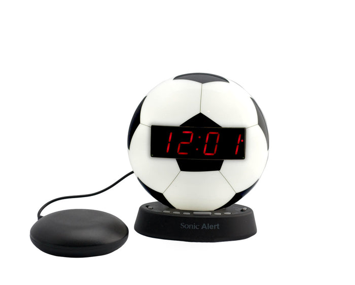 The Sonic Glow SOCCER BALL Alarm Clock with Recordable Alarm and Sonic Bomb Bed Shaker.