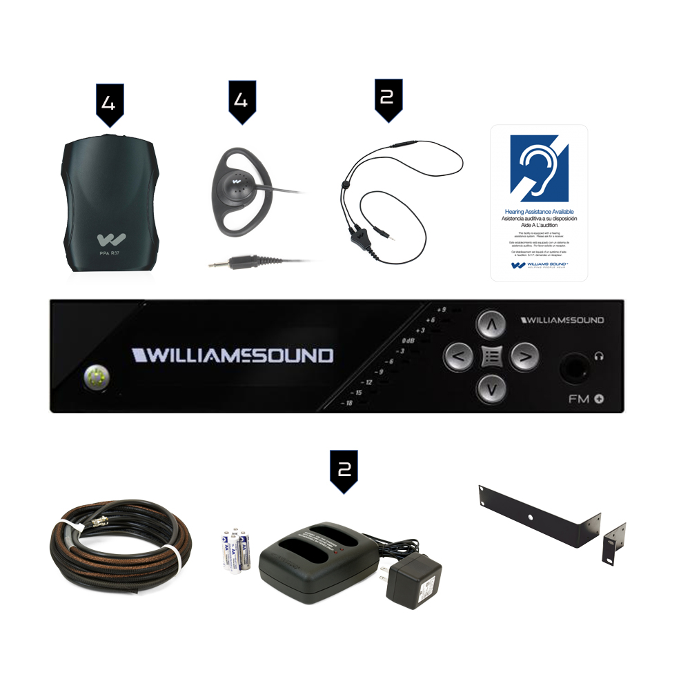 Williams Sound FM Plus Large-area Dual FM and Wi-Fi Assistive Listening System with Professional Installation Kit