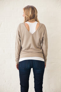 Reverse V Oatmeal Sweater