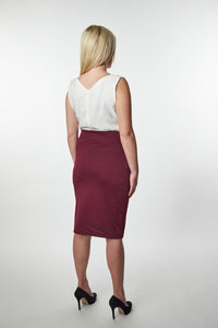 Fair Trade Burgundy Midi Skirt