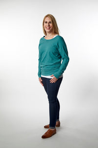 Reverse V-Neck Long Sleeve Top