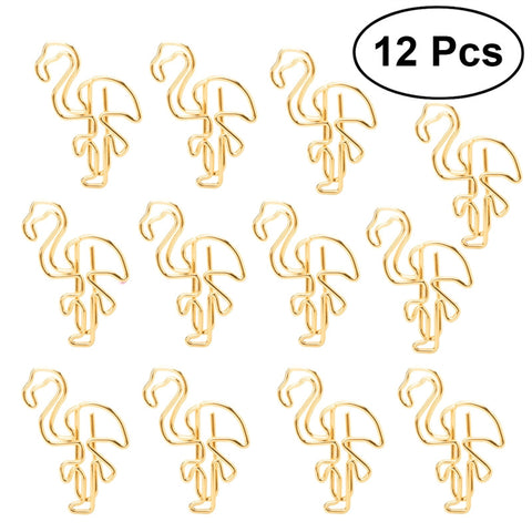 12pcs Metallic Flamingo Paper Clips