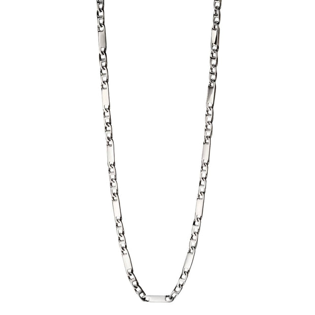 Stainless Steel Bar Link Chain Necklace - Fred Bennett