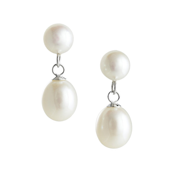 Midsummers Eve Layered Dew Drop Double Drop earrings - White