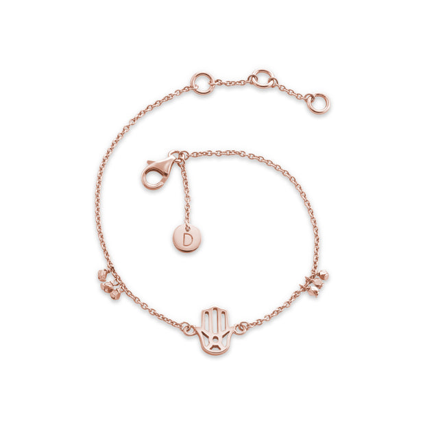 Daisy Double Heart Rose Gold Good Karma Bracelet