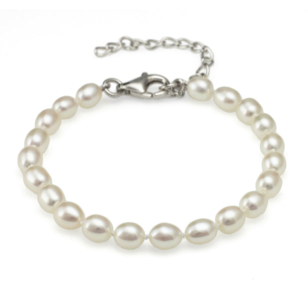 "Classic 4-4.5mm Oval Pearl bracelet - extendable 5.5"" - 7.5"""