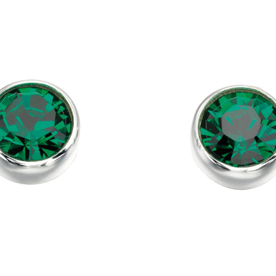 May Birthstone Studs - Emerald Swarovski
