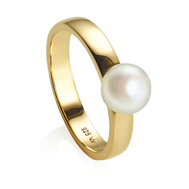 Viva Yellow gold pearl ring - size N