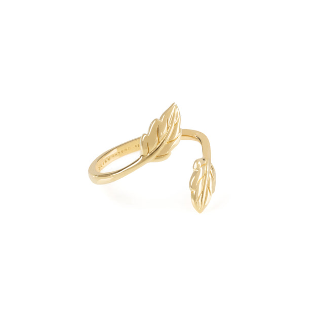 Daisy Natures Way Double Leaf Ring Gold MED
