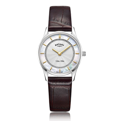 Rotary Ultra Slim White Cased Watch