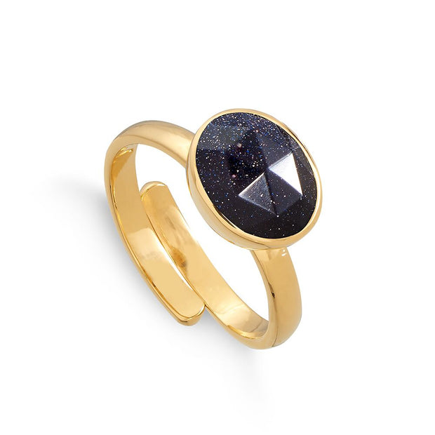 Atomic Midi 18ct Gold Vermeil Blue Sunstone Adjustable Ring - SVP