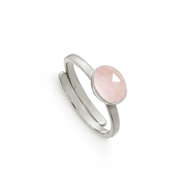 Atomic Mini Silver Rose Quartz Adjustable Ring - SVP