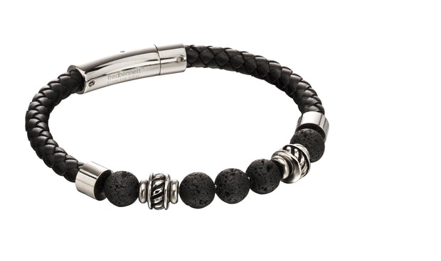 Black leather & Lava Beads Bracelet - Fred Bennett