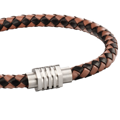 Fred Bennett Brown & tan leather bracelet