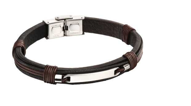 ID woven in leather bracelet