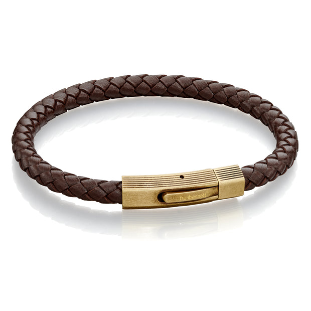 Brown Leather with brushed bronze clasp Bracelet - Fred Bennett