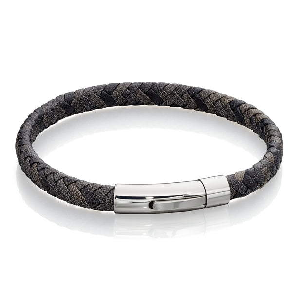 Grey mix plaited leather Bracelet - Fred Bennett