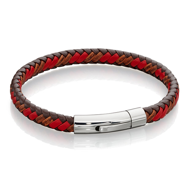 Tan & red plaited leather Bracelet - Fred Bennett