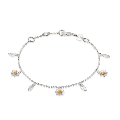 Bellis Daisy and Leaf Charm Bracelet