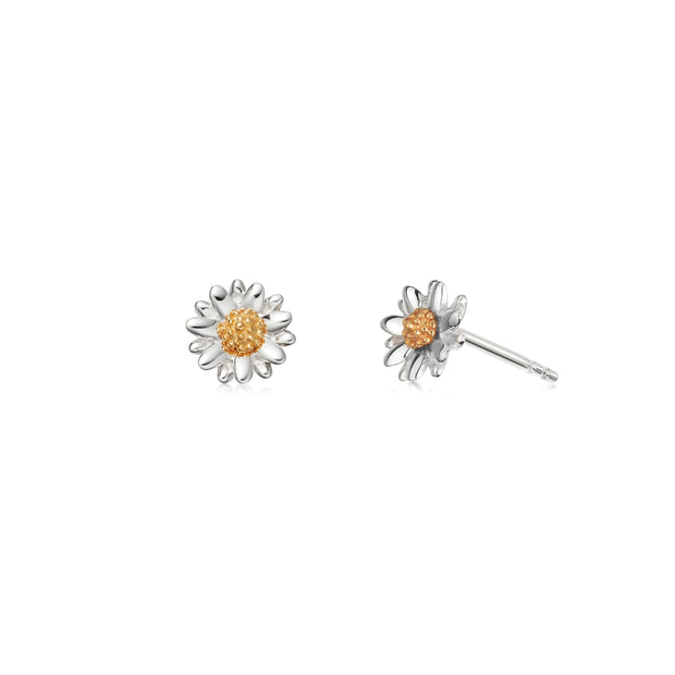 Daisy 7mm Sterling Silver & 18ct Gold Plate Studs - Daisy London