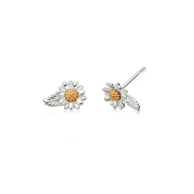 English Daisy & Leaf Stud