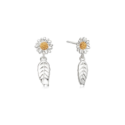 Bellis Daisy & Drop Leaf Earring