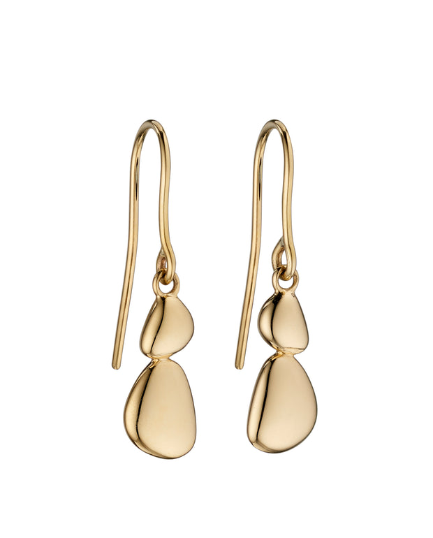 Yellow Gold Pebble Drop Earrings