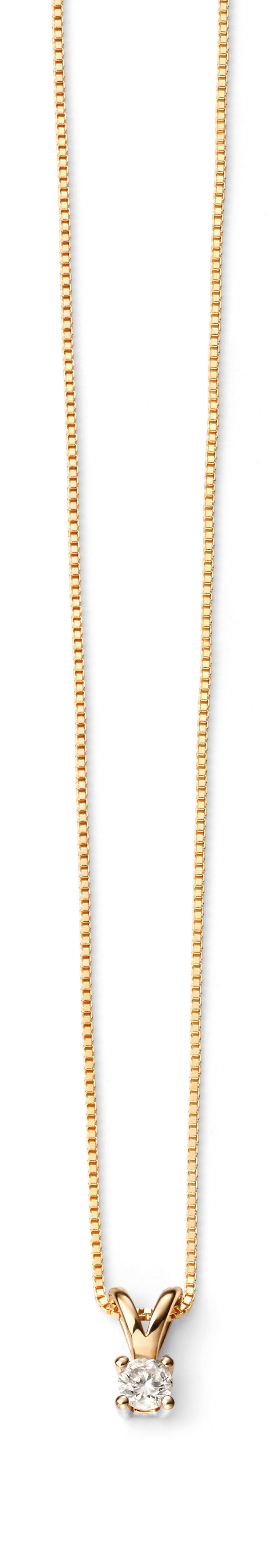 Solitaire pendant & Yellow Gold Chain