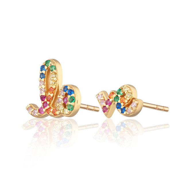 Rainbow Love Gold Plated Stud Earrings - Scream Pretty