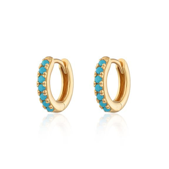 Huggie Hoops with Turquoise stones Gold plated Earrings - Scream Pretty
