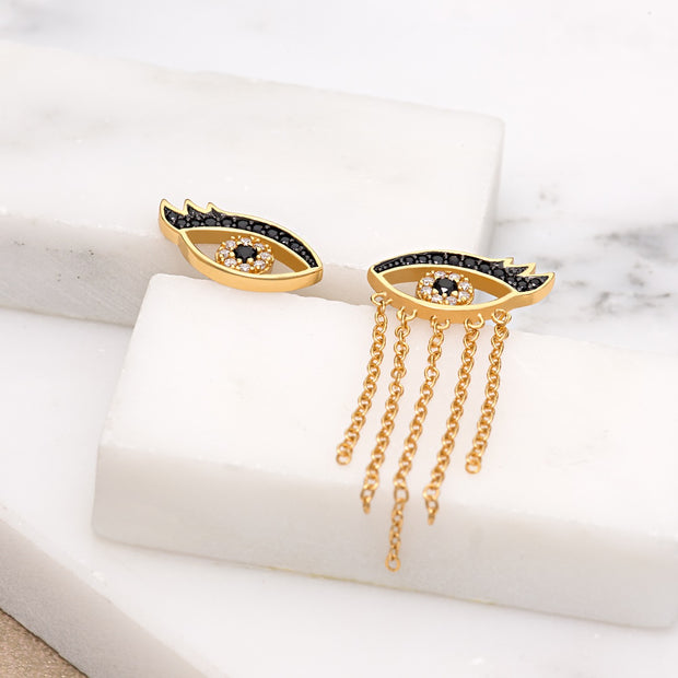 Crying Eyes Gold Plate & Black Onyx Mismatched Studs - Scream Pretty