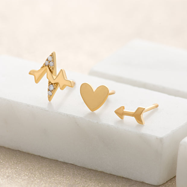 Heartbeat Set of 3 Single Gold Plated Studs - Scream Pretty