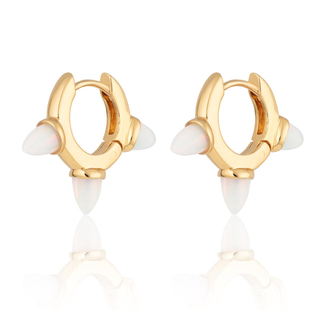 Opal Triple Bullet Huggie Hoop Gold Plated Earrings - Scream Pretty